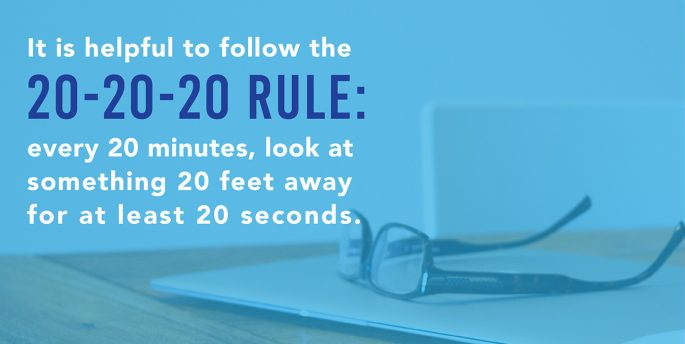 "A pair of glasses sits on top of a laptop while text next to them reads, ""It is helpful to follow the 20-20-20 rule: every 20 minutes, look at something 20 feet away for at least 20 seconds."""