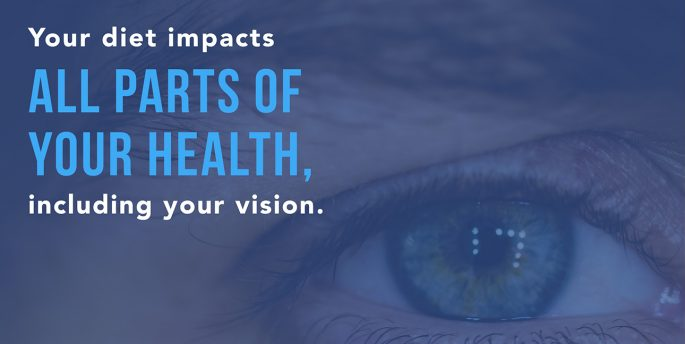 "An eye stares at the camera while font over it reads, ""Your diet impacts all parts of your health, including your vision."""