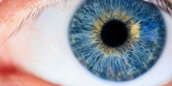 A zoomed in photo of an eyeball with a blue iris.