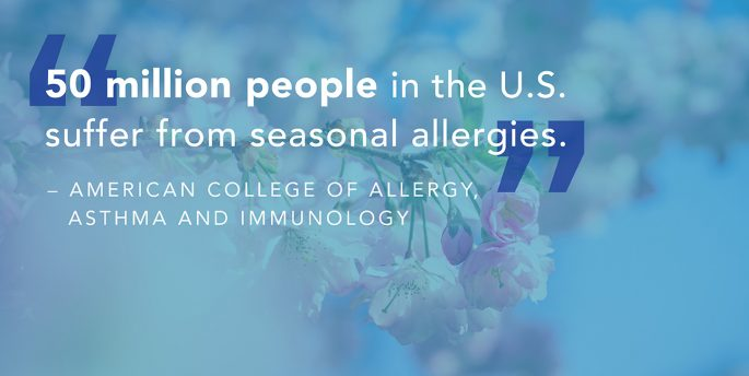 "A brand shows blossoming flowers while text reads, ""'50 million people in the U.S. suffer from seasonal allergies.' - American College of Allergy, Asthma and Immunology."""
