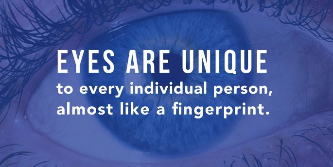 "A blue eye looks forward while text reads, ""Eyes are unique to every individual person, almost like a fingerprint."""