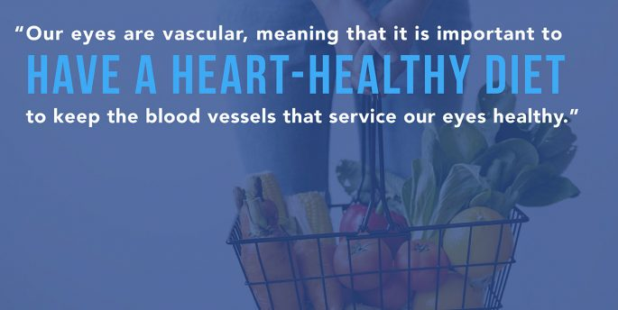 "A person holds a basket of vegetables while copy over them reads, ""Our eyes are vascular, meaning that it is important to have a heart-healthy diet to keep the blood vessels that service our eyes healthy."""