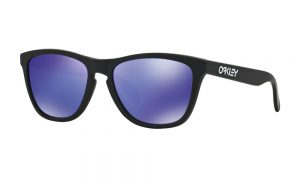 Frogskin Matte Black Violet Iridium Oakley Sunglasses feature a black frame and violet lenses.
