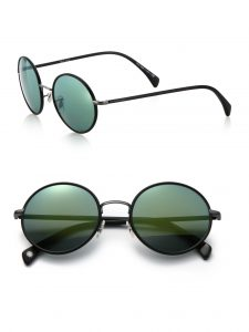 Round Paul Smith Danbury sunglasses feature green lenses and a black frame.